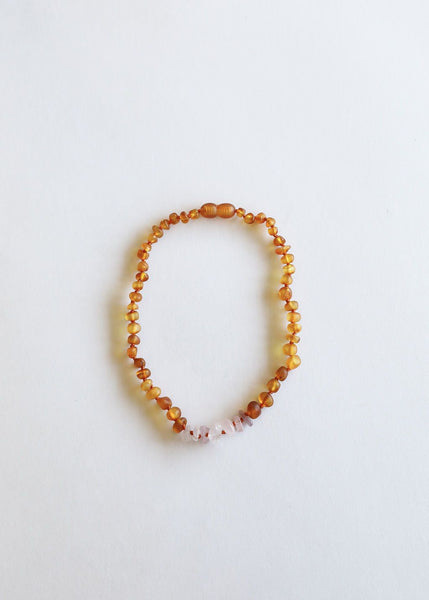 Raw Honey Baltic Amber & Raw Rose Quartz Necklace | Canyon Leaf