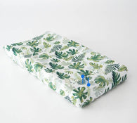 Tropical Leaf Cotton Muslin Changing Pad Cover | Little Unicorn