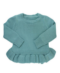 Storm Blue Ruffled Sweater | Ruffle Butts