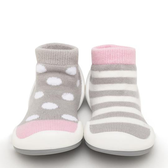 Dots & Stripes Pink Baby Shoes | Komuello