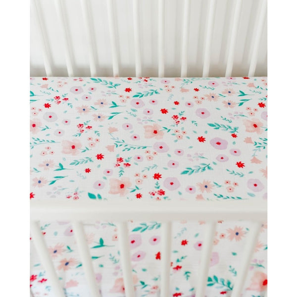 Morning Glory Cotton Muslin Crib Sheet by Little Unicorn - Nature Baby Outfitter
