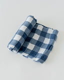 Blue Plaid Deluxe Muslin Swaddle Blanket | Little Unicorn