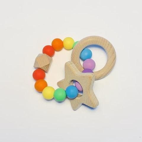 Rainbow Baby Silicone + Beechwood Teether | Sugar + Maple