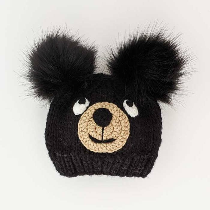 Black Bear Knit Beanie Hat | Huggalugs
