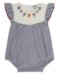 Embroidered Stripe Romper | Lilly & Sid