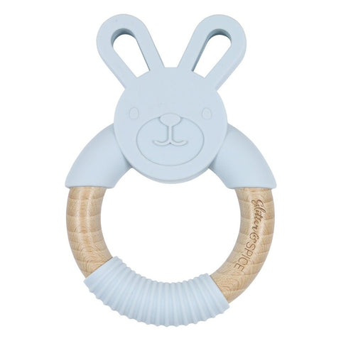 Gray Wooden Bunny Teether | Glitter & Spice