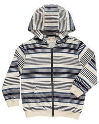 Blue Striped Hooded Zipper Top | Me & Henry