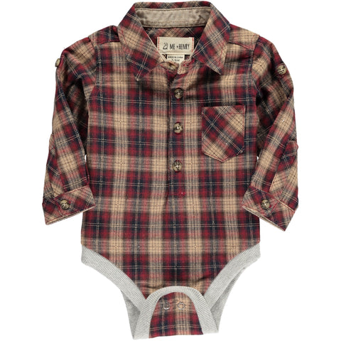 Wine & Beige Checkered Woven Bodysuit | Me & Henry