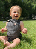 Black Woven Bubble Shorts Overalls | Me & Henry