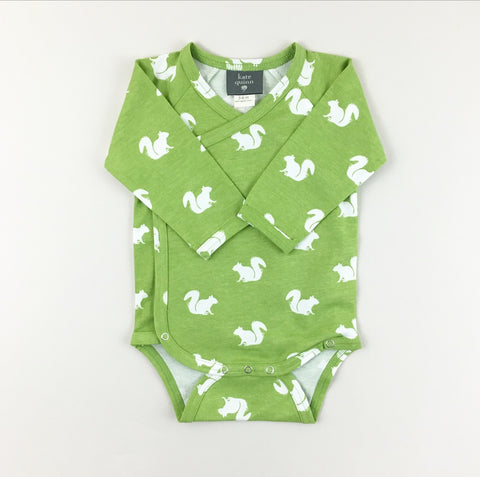 Squirrel Long Sleeve Kimono Bodysuit | Kate Quinn Organics - Nature Baby Outfitter