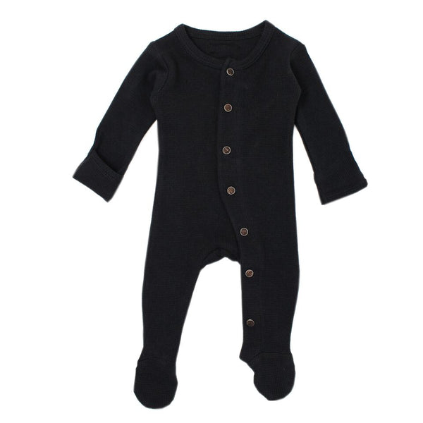 Black Organic Thermal Footed Overall | L'ovedbaby