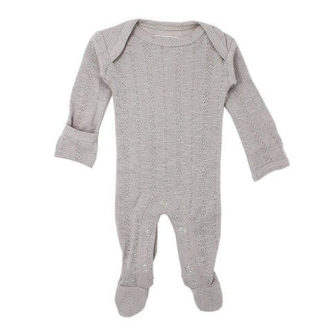 Light Gray Pointelle Lap-Shoulder Footed Overall | L'ovedbaby