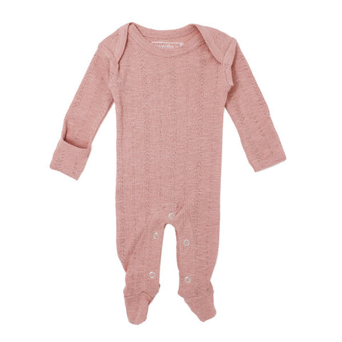 Mauve Pointelle Lap-Shoulder Footed Overall | L'ovedbaby