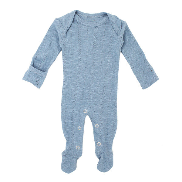 Pool Blue Pointelle Lap-Shoulder Footed Overall | L'ovedbaby