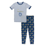 Navy Cornflower & Bee Short Sleeve Pajama Set | Kickee Pants