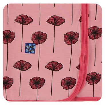 Strawberry Poppies Swaddle Blanket | Kickee Pants