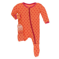 Nectarine Leaf Lattice Footie Snap Pajamas | Kickee Pants