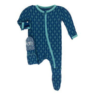 Navy Leaf Lattice Footie Zip Pajamas | Kickee Pants