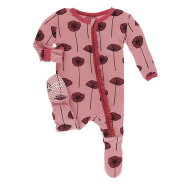 Strawberry Poppies Muffin Ruffle Footie Zip Pajamas | Kickee Pants