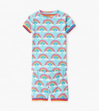Aqua Magical Rainbows Organic Cotton Shorts Pajamas | Hatley