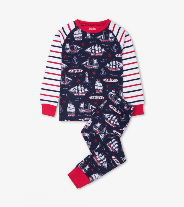 Nautical Ships Organic Cotton Raglan Pajamas | Hatley