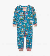 Blue Bottled Ships Organic Cotton Coverall Pajamas | Hatley
