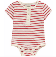 Red Striped Henley Bodysuit | Me & Henry