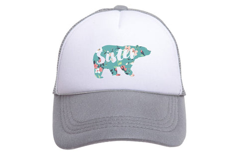 Sister Bear Tiny Trucker Hat | Grey - Nature Baby Outfitter