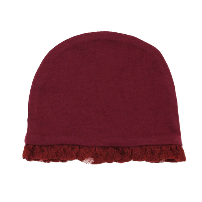 Cranberry Organic Lace Ruffle Cap | L'ovedbaby