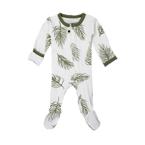 Sage Palm Organic Zipper Footed Overall | L'ovedbaby
