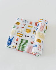 Beach Bag Cotton Swaddle Blanket | Little Unicorn