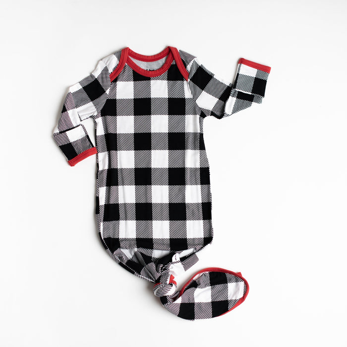 Buffalo Plaid Bamboo Infant Knotted Gown | Little Sleepies