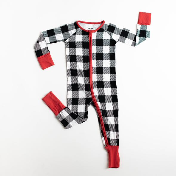 Buffalo Plaid Bamboo Convertible Romper/Sleeper | Little Sleepies