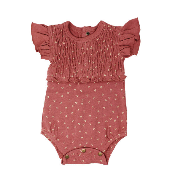 Sienna Dots Short Sleeve Smocked Bodysuit | L'ovedbaby