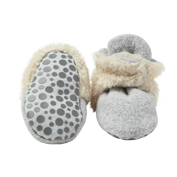 Heather Gray Cozie Fleece Furry Lined Gripper Booties | Zutano
