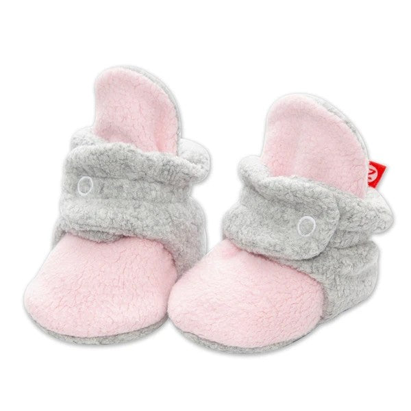 Baby Pink & Heather Gray Cozie Fleece Booties | Zutano
