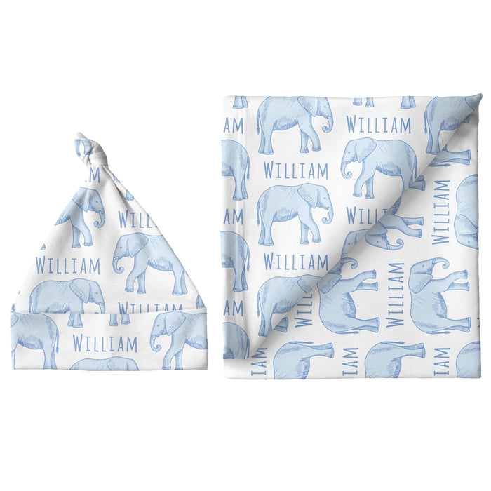 Personalized Small Blanket & Hat Set - Elephant Blue | Sugar + Maple