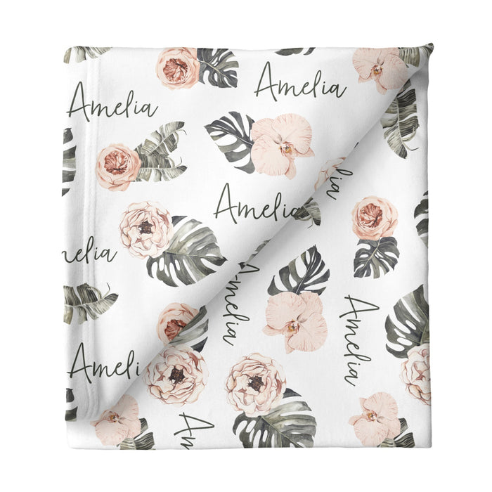 Personalized Small Stretchy Blanket - Tropical Floral | Sugar + Maple
