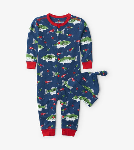 Gone Fishing Baby Coverall & Hat Pajamas Set | Little Blue House by Hatley