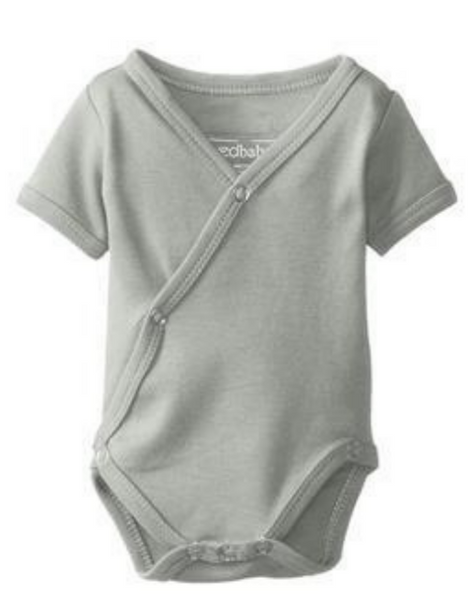 Light Gray Organic Short-Sleeved Kimono Bodysuit | L'ovedbaby