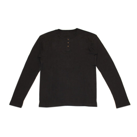 Black Organic Long Sleeve Thermal Shirt | L'ovedbaby