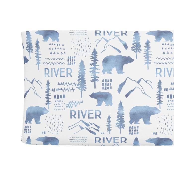 Personalized Changing Pad Cover - Woodland Blue | Sugar + Maple