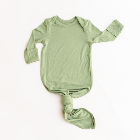 Sage Green Bamboo Infant Knotted Gown | Little Sleepies