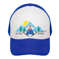 Royal Blue Skier Bear Trucker Hat | JP DOoDLES