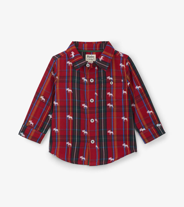 Crimson Moose on Plaid Baby Button Down Shirt | Hatley