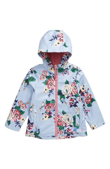 Light Blue Rabbit Floral Raindance Coat | Joules