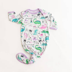 Pink/Purple Dinosaurs Bamboo Infant Knotted Gown | Little Sleepies