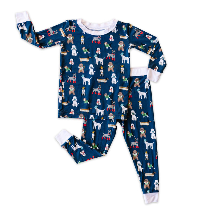 Navy Puppy Love Two-Piece Bamboo Pajama Set | Little Sleepies