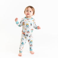 Robots Bamboo Two-Piece Pajama Set | Little Sleepies
