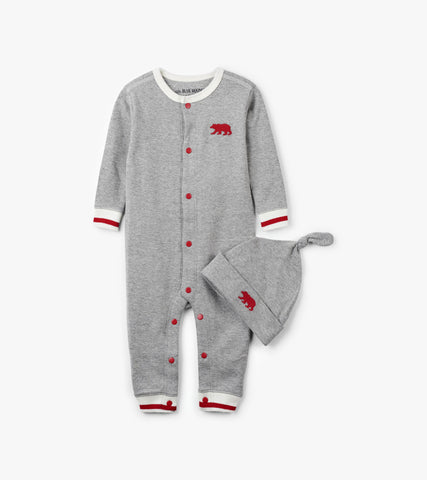 Sock Monkey Baby Coverall & Hat Pajamas Set | Little Blue House by Hatley